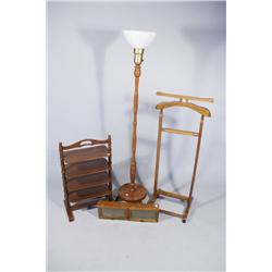 An American Four Tier Side Table, Together with a Floor Lamp, Clothing Stand and a Diminutive Hangin