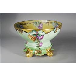 A Limoges Painted Porcelain Bowl and Stand.