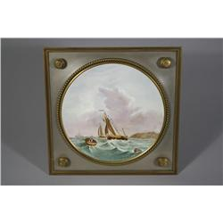 A Continental Painted Porcelain Plate Mounted and Framed in a Metal and Brass Stand.