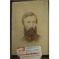A Framed Photograph of a Civil War Soldier.