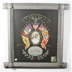 A Vintage Tramp Art Wood Frame, Depicting a Souvenir Needlework with Photograph.