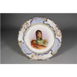 A Sevres Porcelain Painted Plate Depicting Prince Murat, Together with a Porcelain Creamer and Sugar