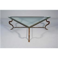 A Wrought Metal and Glass Low Table.