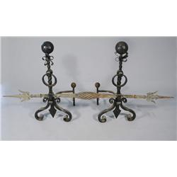 A Large Gothic Revival Wrought Iron Andiron Set.