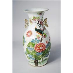 A 19th Century Chinese Porcelain Vase with Bird and Flower Decoration.