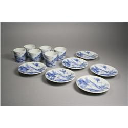 Six Chinese Blue and White Porcelain Cups and Saucers,