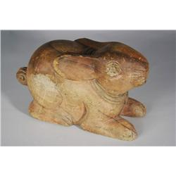 An Asian Carved Hardwood Figure of a Rabbit.