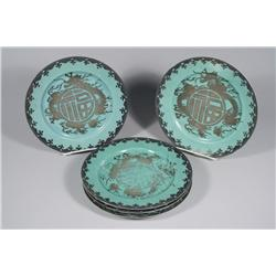 A Set of Five Japanese Porcelain and Silver Overlay Plates with Dragon Motif, Each Signed on Bottom.