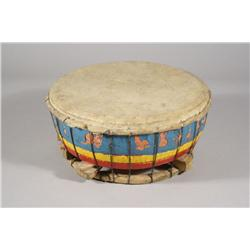 An American Indian Hide and Painted Wood Drum.