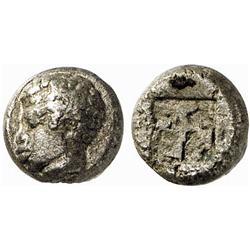 GREEK COINS, ISLAND OF LESBOS, Twelfth, billon, about 520-480 B.C. Bi 0.90 g. Head of an African …