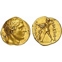GREEK COINS, KINGDOM OF BACTRIA, DIODOTOS I and II, about 250-230 B.C. Stater, gold, in the king'…