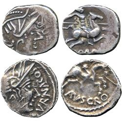 ANCIENT COINS. Greek. Celtic Gaul, The Allobroges (late 1st Century BC), Silver Quinarius,
