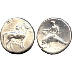 ANCIENT COINS. Greek. Calabria, Tarentum (c.302-231 BC), Silver Stater, rider right, crown