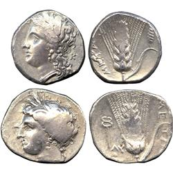 ANCIENT COINS. Greek. Lucania, Metapontum, Silver Staters (2), head of Demeter left, rev b