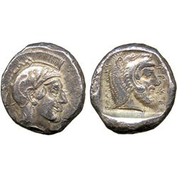 ANCIENT COINS. Greek. Lycian Dynasts, Kherei, Gold Stater, helmeted head of Athena right,