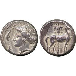 ANCIENT COINS. Greek. Siculo-Punic (c.345-315 BC), Silver Tetradrachm, wreathed head of Ar
