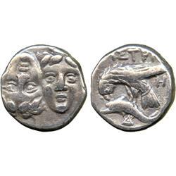 ANCIENT COINS. Greek. Thrace, Istros (c.400-350 BC), Silver Drachm, two young male heads f