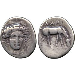 ANCIENT COINS. Greek. Thessaly, Larissa (c.395-344 BC), Silver Drachm, head of nymph Laris