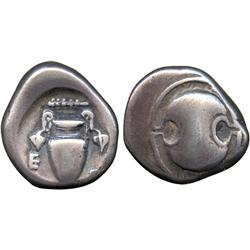 ANCIENT COINS. Greek. Boeotia, Thebes (c.379-338 BC), Silver Stater, Boeotian shield, rev