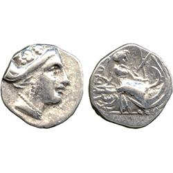 ANCIENT COINS. Greek. Euboea, Histiaia (2nd Century BC), Silver Tetrobol, head of the nymp