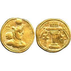 ANCIENT COINS. Greek. Sasanian Empire, Shapur II (AD 309-379), Gold Dinar, bearded bust ri