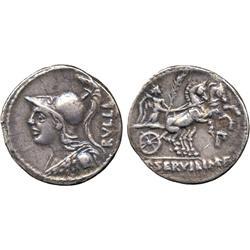 ANCIENT COINS. Roman. P. Servilius Rullus (100 BC), Silver Denarius, bust of Minerva left,