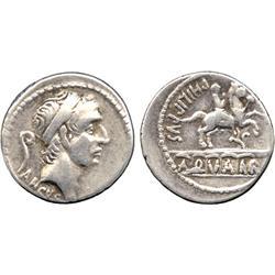 ANCIENT COINS. Roman. L. Marcius Philippus (56 BC), Silver Denarius, diademed head of Ancu