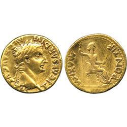 ANCIENT COINS. Roman. Tiberius (AD 14-37), Gold Aureus, Lugdunum, TI CAESAR DIVI AVG F AVG