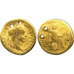 ANCIENT COINS. Roman. Tiberius, Gold Aureus, Indian imitation, TI CAESAR DIVI AVG F AVGVST