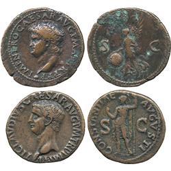 ANCIENT COINS. Roman. Claudius, AE As, bare head left, rev Constantia; Nero (AD 54-68), AE