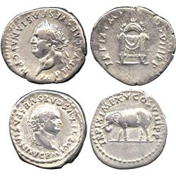 ANCIENT COINS. Roman. Titus (AD 79-81), Silver Denarii (2), laureate head left, rev draped