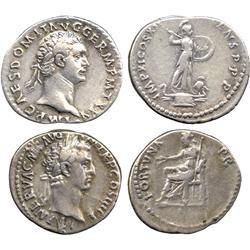 ANCIENT COINS. Roman. Domitian (AD 81-96), Silver Denarius, rev Minerva; Nerva (AD 96-98),