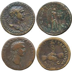ANCIENT COINS. Roman. Nerva (AD 96-98), AE Sestertius, laureate head right, rev clasped ha