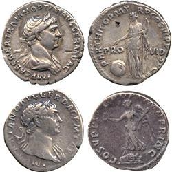 ANCIENT COINS. Roman. Trajan (AD 98-117), Silver Denarii (2), rev Victory, rev Providentia