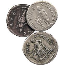 ANCIENT COINS. Roman. Hadrian (AD 117-138), Silver Denarii (3), rev Emperor, Salus (2). Ve
