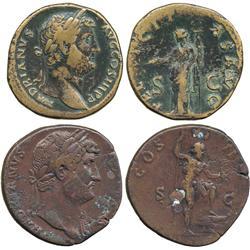 ANCIENT COINS. Roman. Hadrian, AE Sestertii (2), rev Felicitas, rev Neptune.  Good fine. (