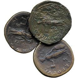 ANCIENT COINS. Roman. Antoninus Pius, AE Sestertius, rev Moneta; Marcus Aurelius (AD 161-1