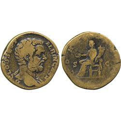 ANCIENT COINS. Roman. Clodius Albinus (AD 195-197), AE Sestertius, D CLOD SEPT ALBIN CAES,
