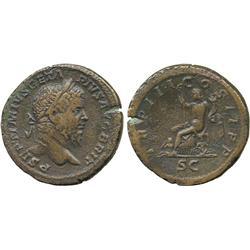 ANCIENT COINS. Roman. Geta (AD 209-212), AE Sestertius, P SEPTIMIVS GETA PIVS AVG BRIT, la