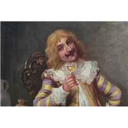 C. Etienne Oil Painting of Cavalier Drinking Wine
