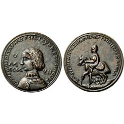 Cecco Ordelaffi, signore di Forlì. Medaglia 1457