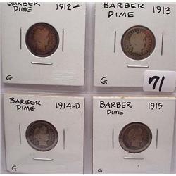 LOT OF 4 BARBER DIMES - 1912-P, 1913-P, 1914-D, 19
