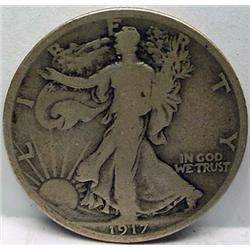1917-D ON REVERSE WALKING LIBERTY HALF DOLLAR