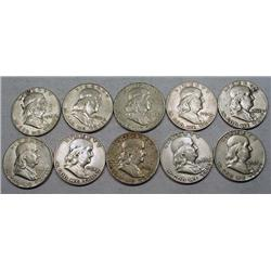 LOT OF 10 90% SILVER FRANKLIN HALF DOLLARS - 1964