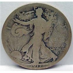 1917-S ON OBVERSE WALKING LIBERTY HALF DOLLAR