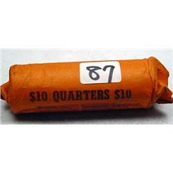 ROLL OF 40 90% SILVER WASHINGTON QUARTERS - 1964 O