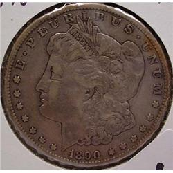 1890-CC CARSON CITY MORGAN SILVER DOLLAR - F
