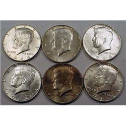 LOT OF 6 90% SILVER KENNEDY HALF DOLLARS - 1964 OR