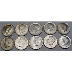 LOT OF 10 90% SILVER KENNEDY HALF DOLLARS - 1964 O