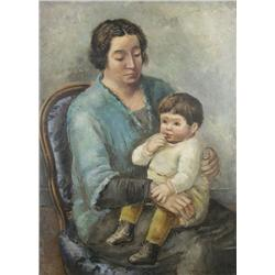 Arnold Blanch (1896-1968) Mother and Child, Oil on Canvas,